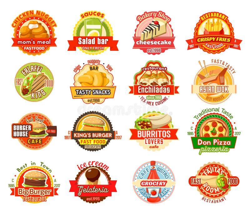 Etiqueta de los alimentos de preparación rápida para el café americano, mexicano, asiático libre illustration