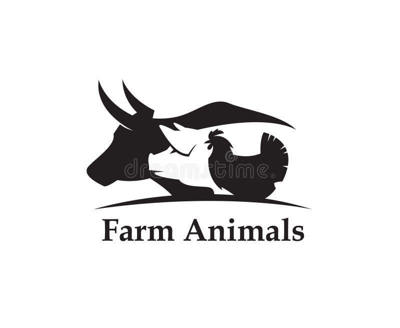 Etiqueta de los animales del campo ilustración del vector