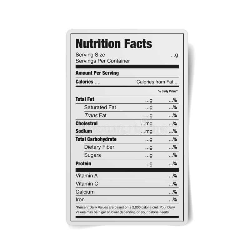 Etiqueta de los hechos de la nutrición ilustración del vector