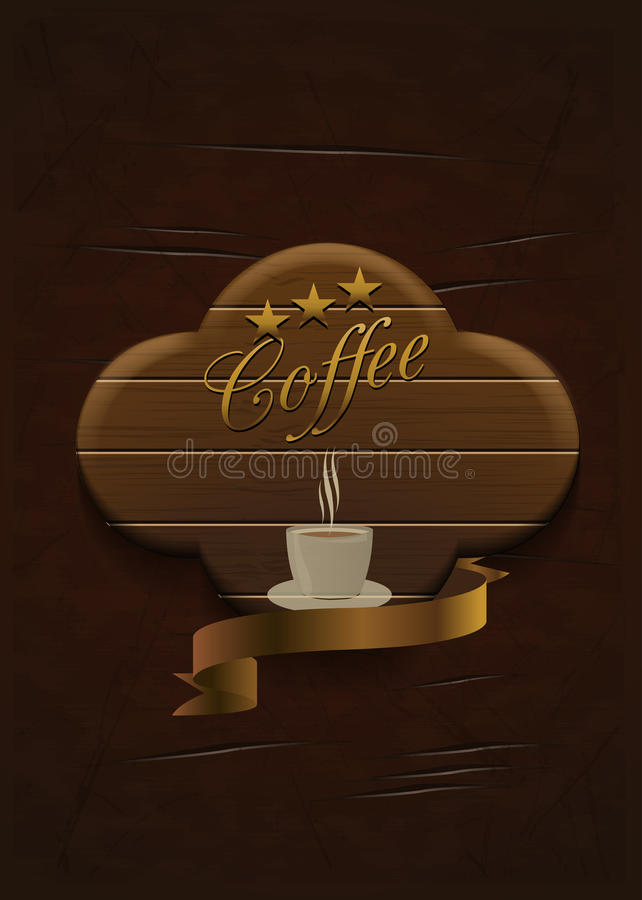 Etiqueta de madeira do café ilustração royalty free