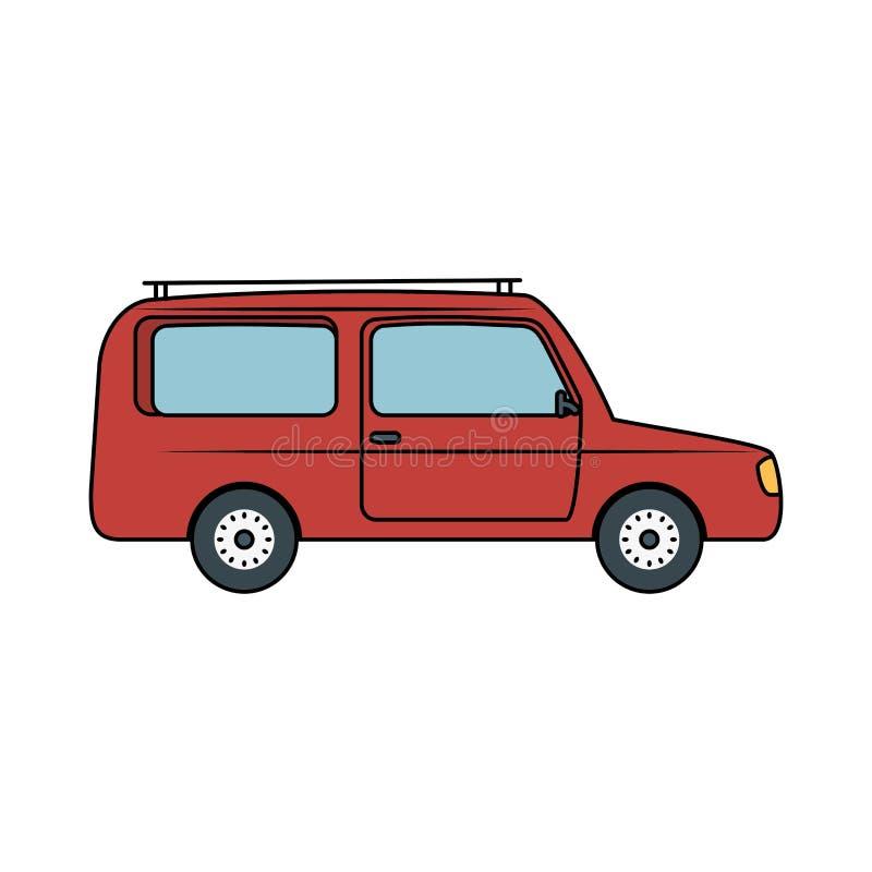 Etiqueta de madeira do guia da seta com carro ilustração do vetor