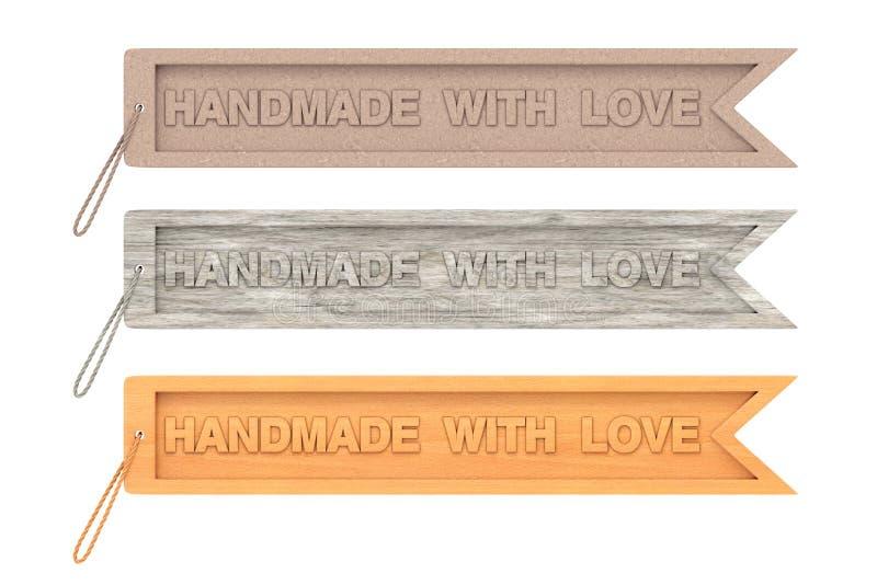 Etiqueta de madeira do ofício com o feito a mão com sinal e corda do amor rende 3D ilustração royalty free