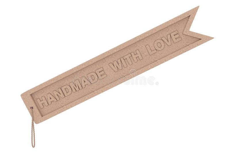Etiqueta de madeira do ofício com o feito a mão com sinal e corda do amor rende 3D ilustração stock