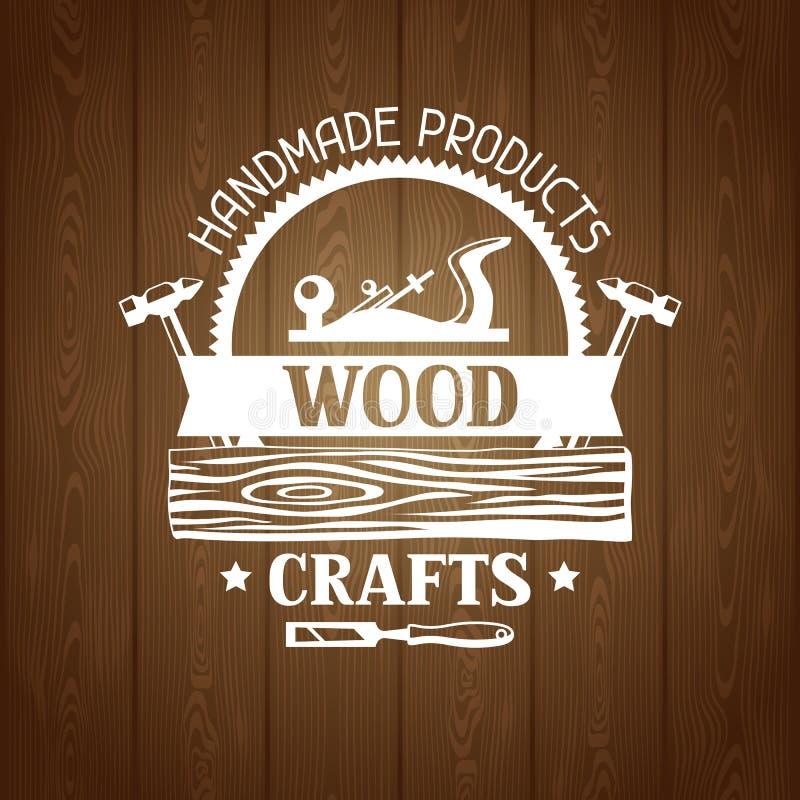 Etiqueta de madeira dos ofícios com log e jointer Emblema para a silvicultura e a indústria da madeira serrada ilustração do vetor