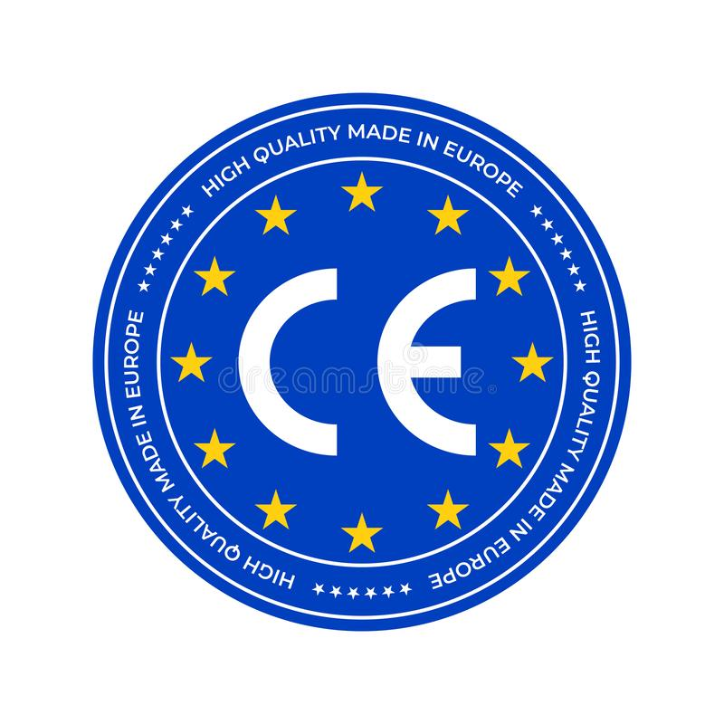 Etiqueta de marca de CE o marca de certificación europea de la conformidad Estrellas de alta calidad del sello del certificado de libre illustration