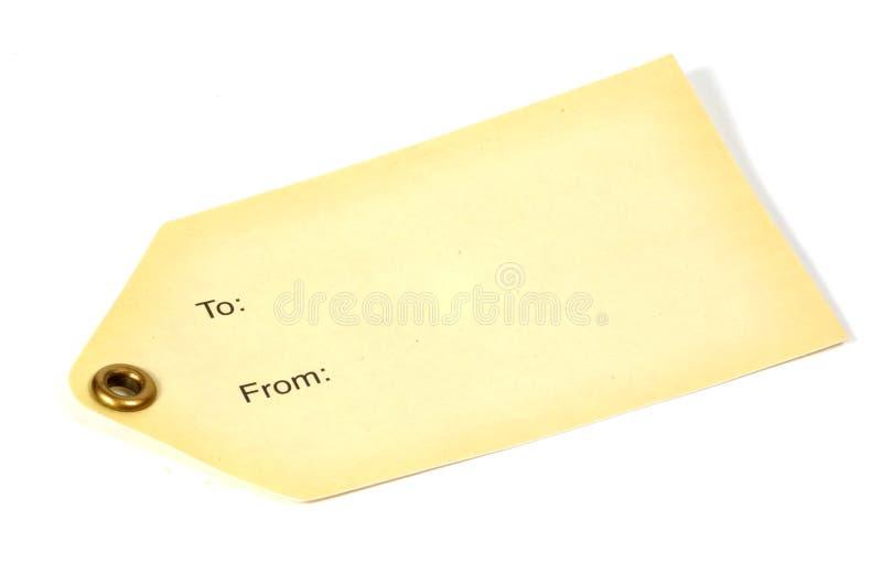 Etiqueta de marfil fotografía de archivo libre de regalías