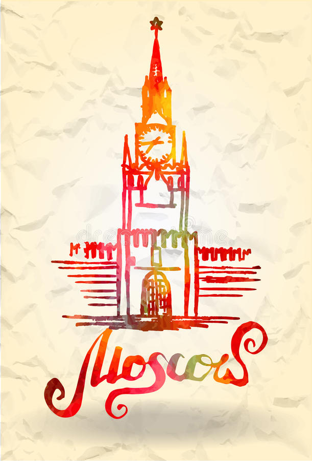 Etiqueta de Moscú con el Kremlin dibujado mano, poniendo letras a Moscú con el terraplén de la acuarela libre illustration