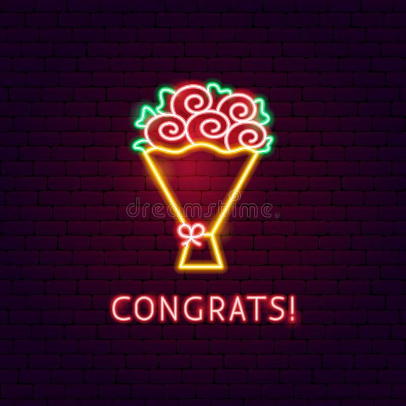 Etiqueta de néon de Congrats ilustração do vetor