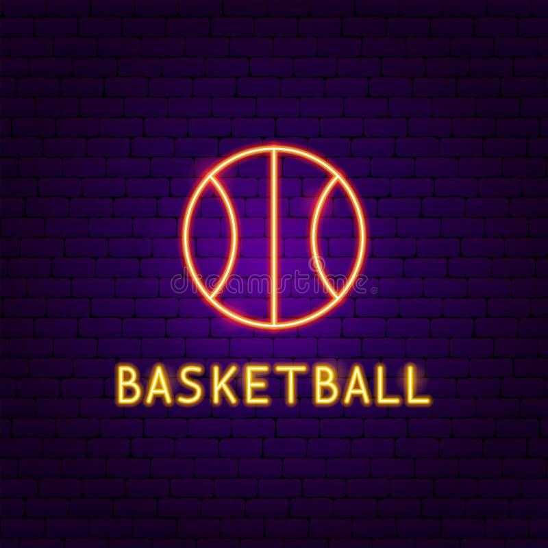 Etiqueta de néon da bola do basquetebol ilustração stock