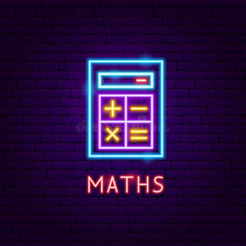 Etiqueta de néon das matemáticas ilustração royalty free