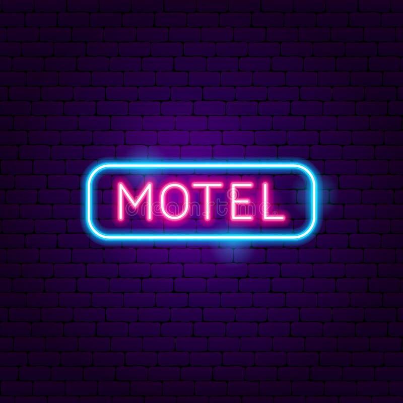 Etiqueta de neón del motel stock de ilustración