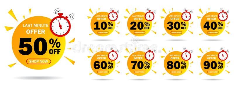 Etiqueta de oferta de último minuto de descuento, 50, 20, 10, 40, 30, 60, 70, 80, 90 por ciento. Establecer el número de descuen ilustración del vector