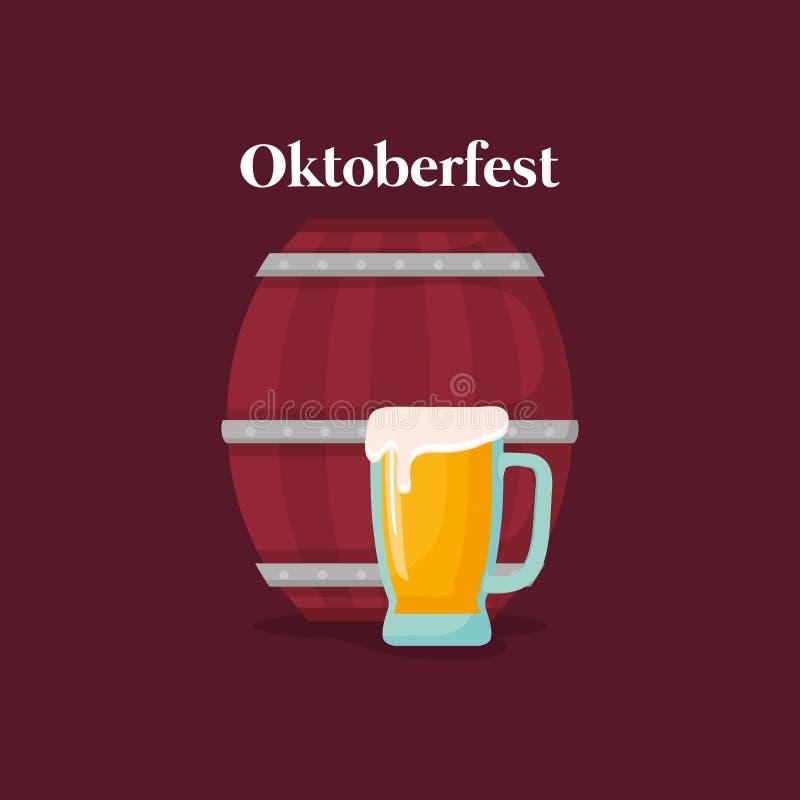Etiqueta de Oktoberfest com cerveja do tambor ilustração stock