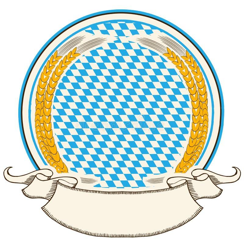 Etiqueta de Oktoberfest. Fundo da bandeira de Baviera com s ilustração do vetor