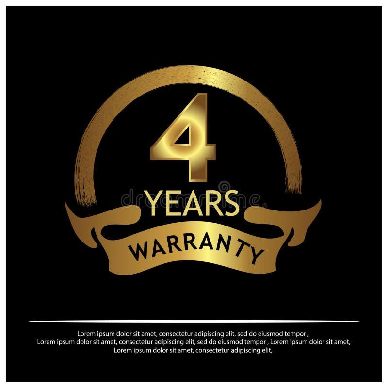 Etiqueta de oro de la garantía de cuatro años en el fondo blanco - vector stock de ilustración