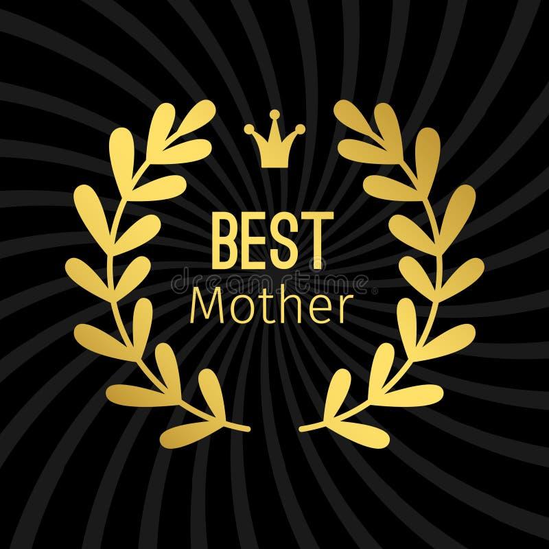 Etiqueta de oro de la mejor madre con diseño del vector de la guirnalda stock de ilustración