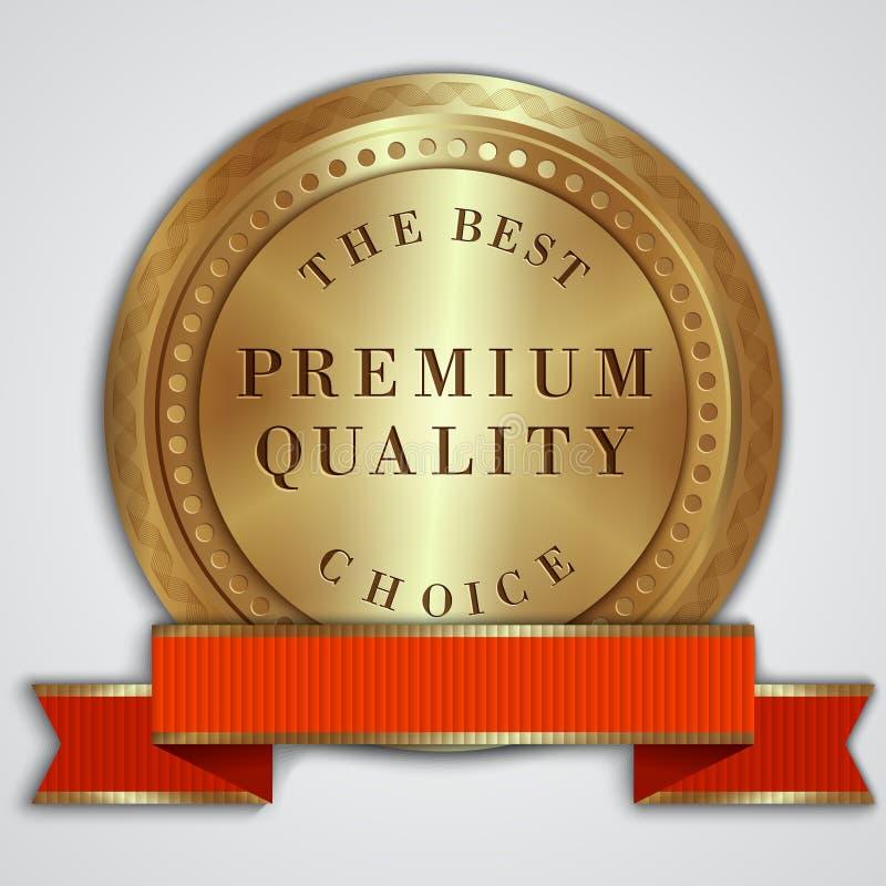 Etiqueta de oro redonda de la insignia del vector con la cinta roja fotos de archivo