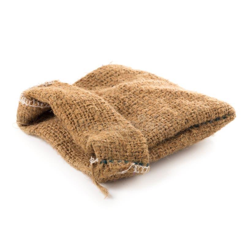 Etiqueta de pano de saco isolada em um fundo branco fotos de stock