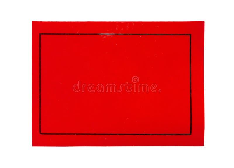 Etiqueta de papel vermelha da etiqueta isolada no branco imagens de stock