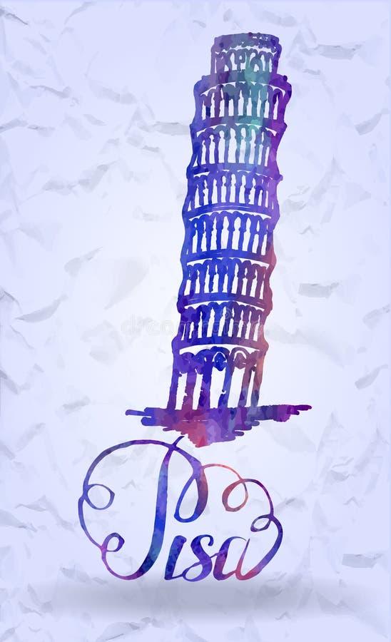 Etiqueta de Pisa con la torre inclinada dibujada mano de Pisa, poniendo letras a Pisa con el terraplén de la acuarela libre illustration