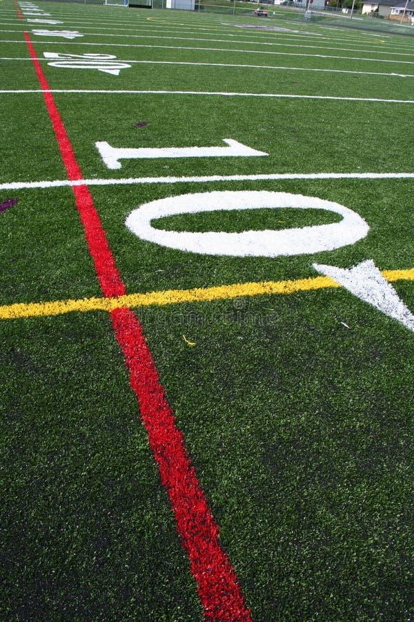 Etiqueta de plástico americana del campo de fútbol imagenes de archivo