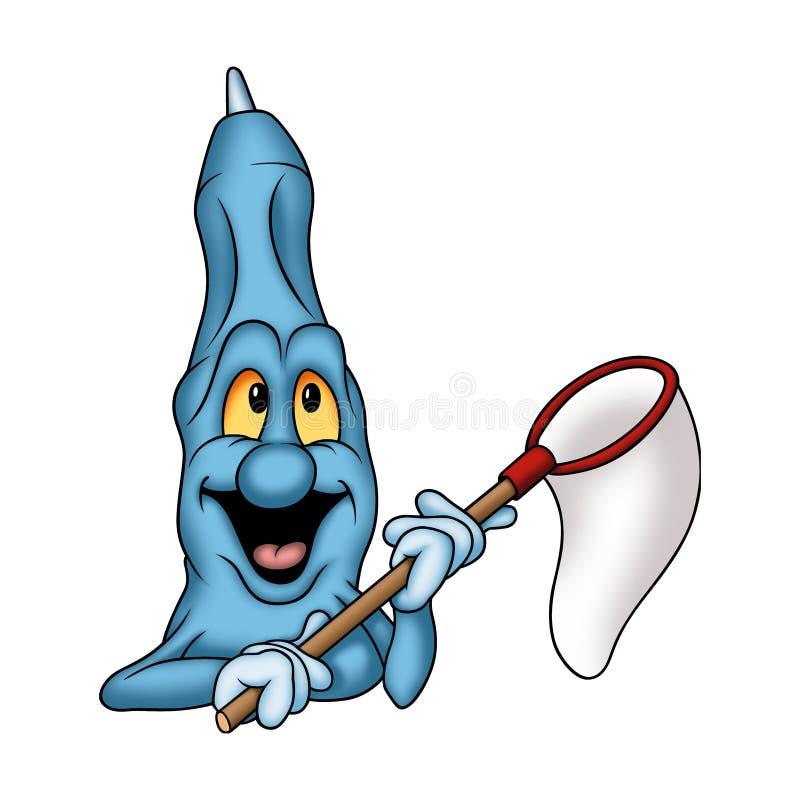 Etiqueta de plástico azul con la red de anillo ilustración del vector