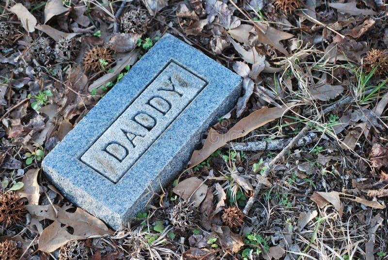 Etiqueta de plástico del sepulcro del papá fotografía de archivo