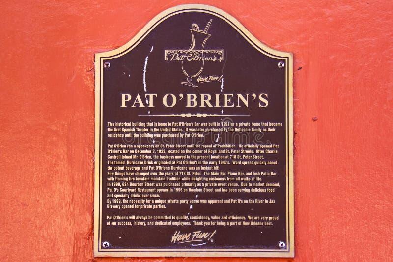 Etiqueta de plástico histórica de OBriens de la palmadita de New Orleans foto de archivo