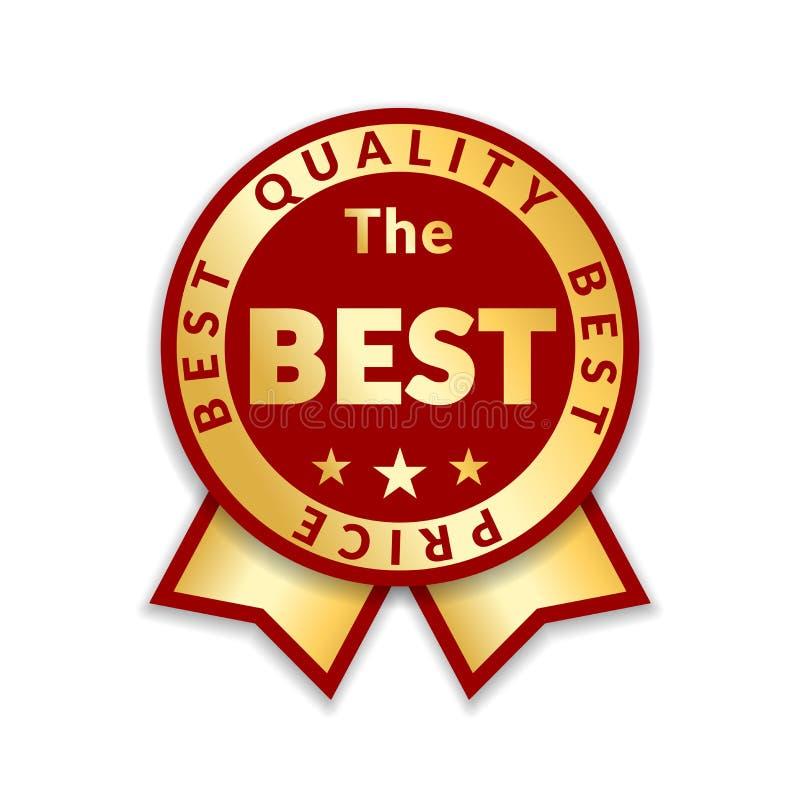 Etiqueta de preço da concessão da fita a melhor Fundo branco isolado ícone da concessão da fita do ouro Projeto dourado da melhor ilustração royalty free