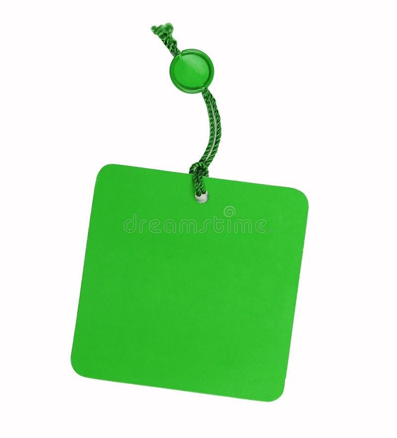 Etiqueta de preço verde, isolada fotografia de stock