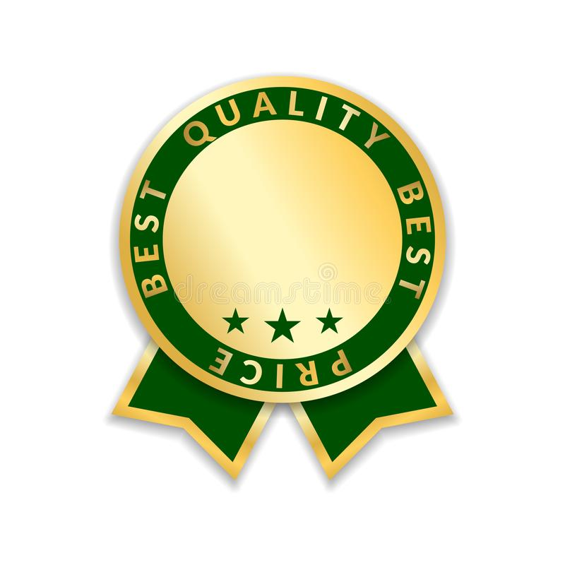 Etiqueta de precio del premio de la cinta la mejor Fondo blanco aislado icono del premio de la cinta del oro Etiqueta de oro de l libre illustration
