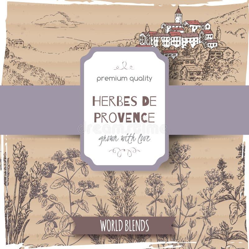 Etiqueta de Provence de las hierbas con la lavanda, orégano, romero, tomillo, albahaca libre illustration