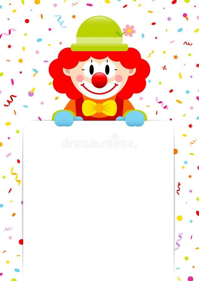 Etiqueta de Red Hair Holding do palhaço com flâmulas e confetes ilustração do vetor