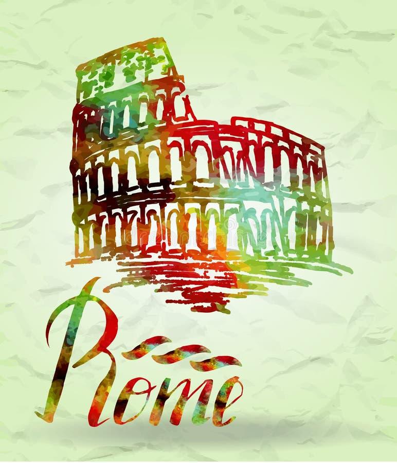 Etiqueta de Roma con el coliseo dibujado mano, poniendo letras a Roma con el terraplén de la acuarela libre illustration