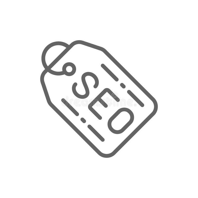 Etiqueta de Seo, ofreciendo para los clientes, l?nea icono de la etiqueta ilustración del vector
