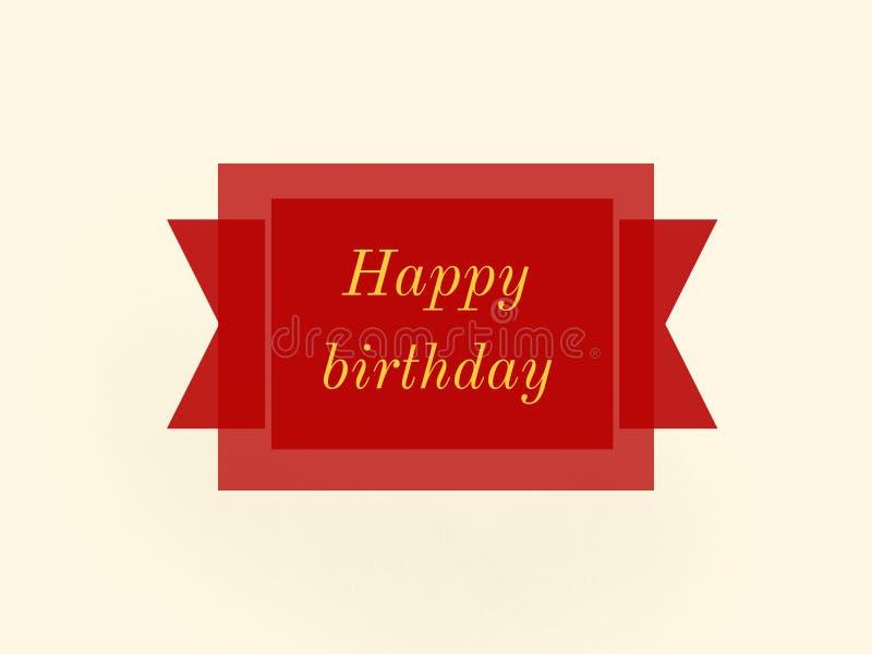 Etiqueta de surpresa da etiqueta da cor vermelha de feliz aniversario ilustração royalty free