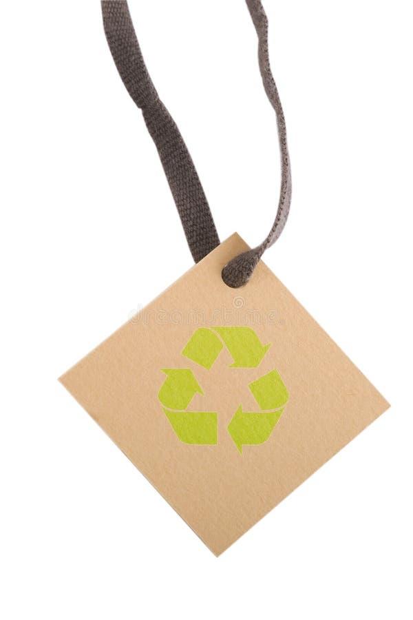 Etiqueta de Tan y muestra de reciclaje verde imágenes de archivo libres de regalías