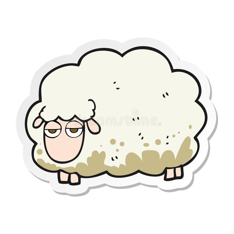 etiqueta de um carneiro enlameado do inverno dos desenhos animados ilustração royalty free