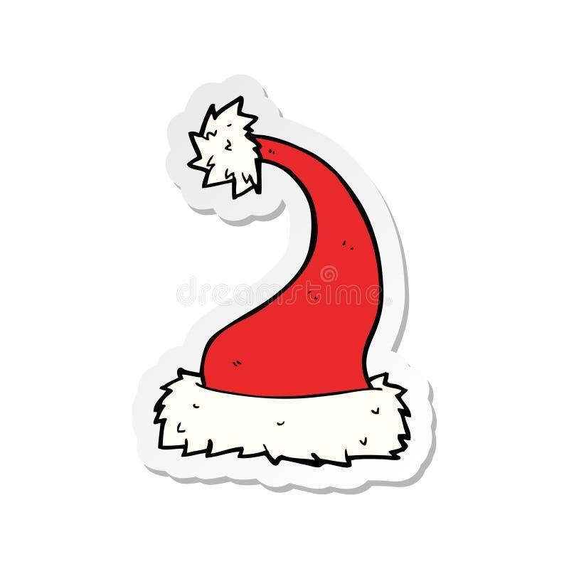 etiqueta de um chap?u de Santa dos desenhos animados ilustração stock