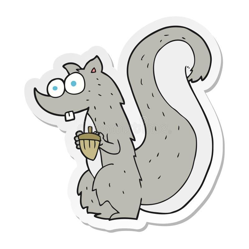 etiqueta de um esquilo dos desenhos animados com porca ilustração stock