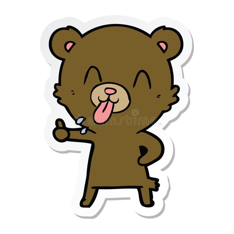 etiqueta de um urso rude dos desenhos animados ilustração royalty free