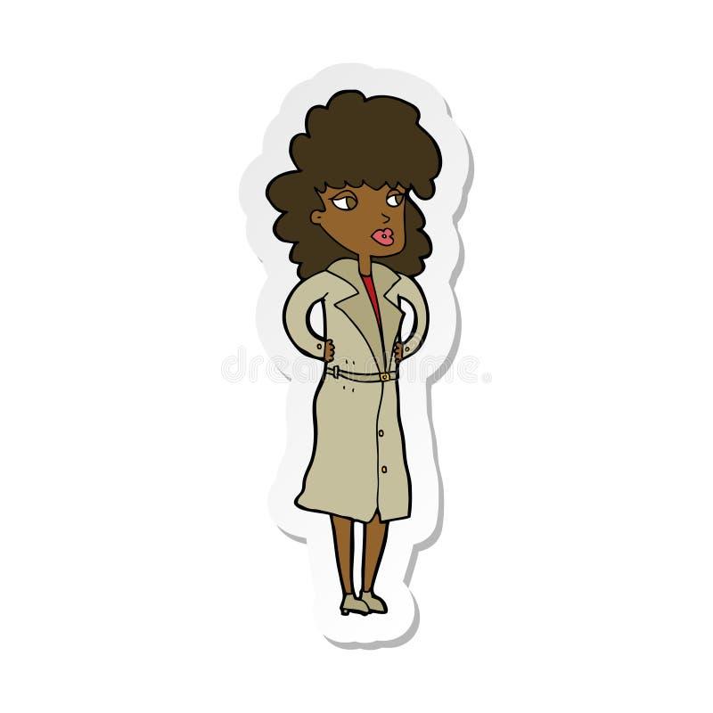 etiqueta de uma mulher dos desenhos animados no revestimento de trincheira ilustração royalty free