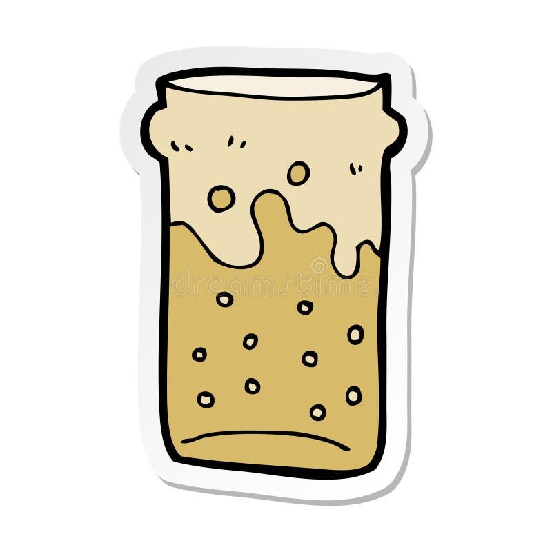 etiqueta de uma pinta dos desenhos animados da cerveja ilustração royalty free