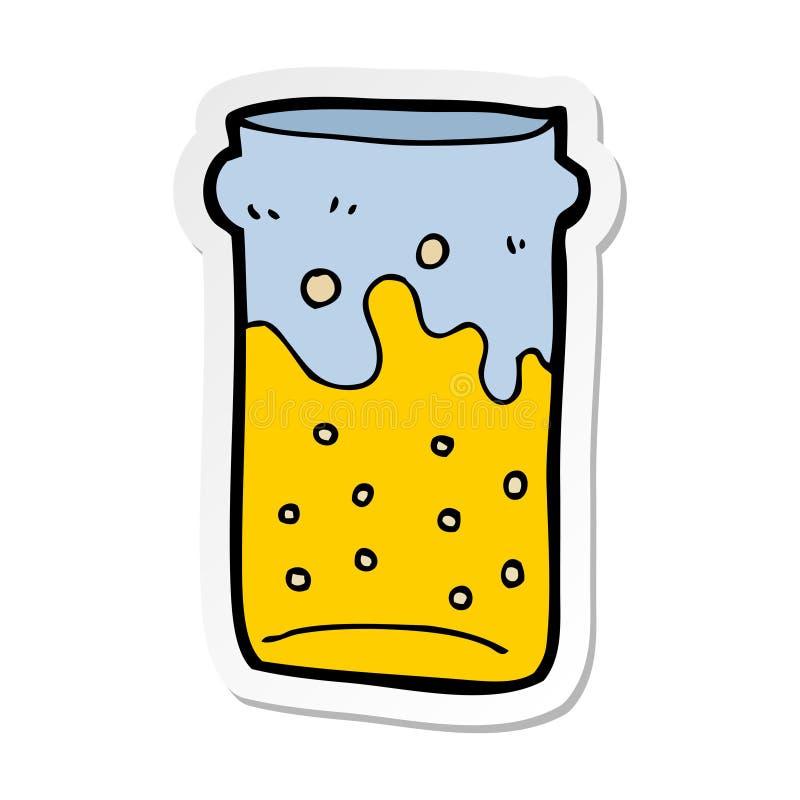 etiqueta de uma pinta dos desenhos animados da cerveja ilustração stock