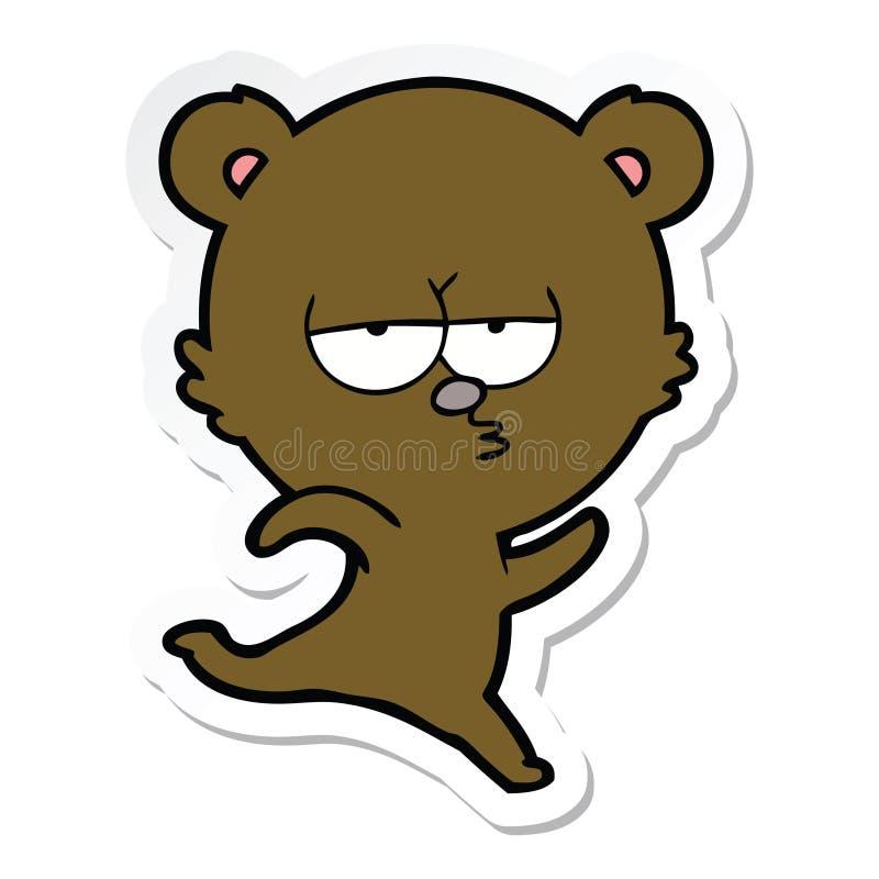 etiqueta de uns desenhos animados de corrida do urso ilustração royalty free