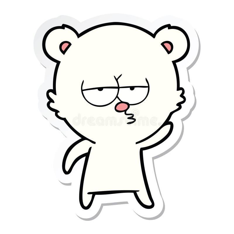etiqueta de uns desenhos animados furados do urso polar ilustração stock