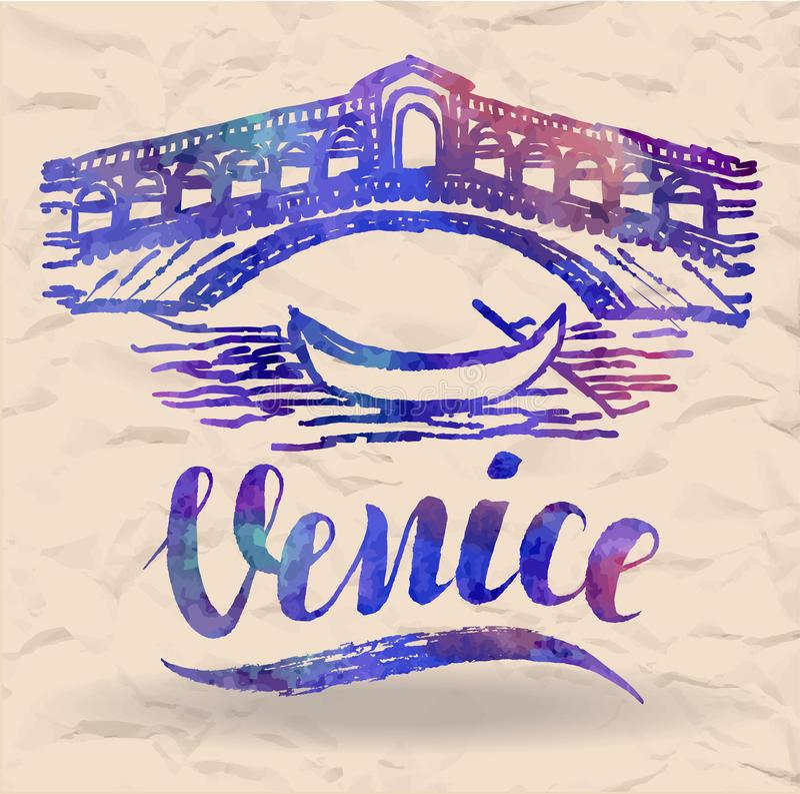 Etiqueta de Venecia con la mano dibujada el puente de Rialto, poniendo letras a Venecia con el terraplén de la acuarela en un pap ilustración del vector