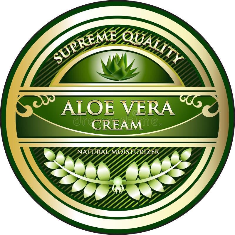 Etiqueta de Vera Cream Natural Moisturizer Product del áloe stock de ilustración
