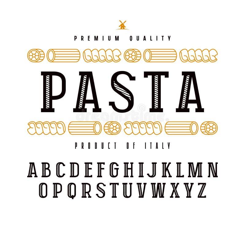 Etiqueta decorativa da fonte e da massa do serif da laje ilustração royalty free