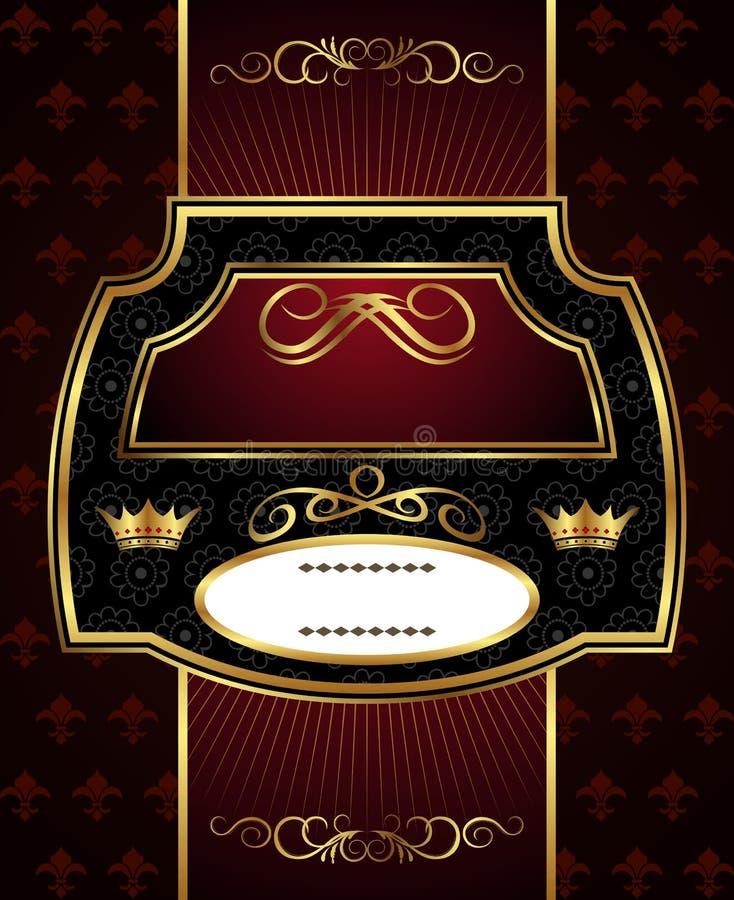 Etiqueta decorativa do frame do ouro ilustração stock
